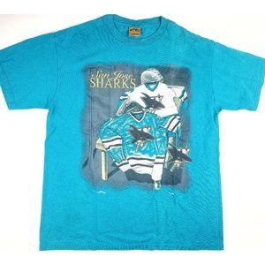 VTG San Jose Sharks NHL Hockey Large Prints Shirt